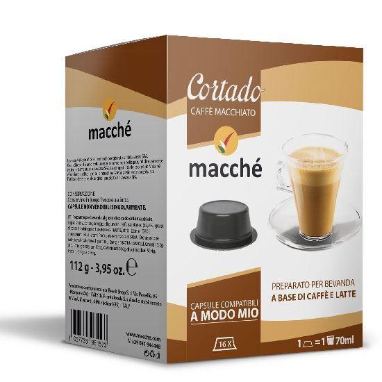 16 capsule Macché Cortado Caffè Macchiato Compatibili Lavazza A Modo Mio